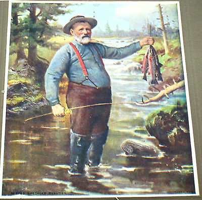 ANTIQUE CALENDAR LEHIGHTON PA 1908 First National Bank STUNNING FISHING PRINT
