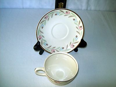 Nantucket Eggshell Nautilus Footed Cup & Saucer  Great Condition Homer Laughlin