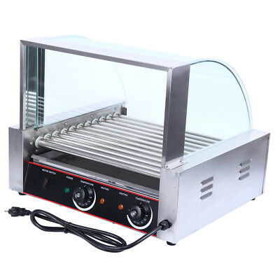 2200w Stainless 30 Hot Dog Commercial 11 Roller Grill Cooker Machine w/ Cover
