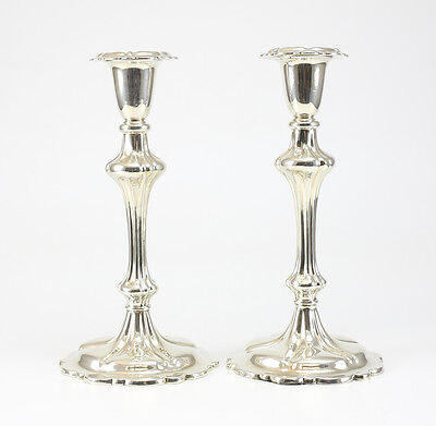 c.1900 English Pair of Silverplate Candlestick Holders; Makers Mark