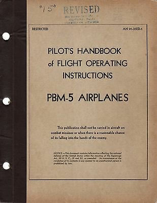 1944 MARTIN PBM-5 MARINER FLYING BOAT PILOTS FLIGHT MANUAL AIRCRAFT HANDBOOK