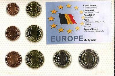 Belgium Euro Coin Set - 8 Coins Mint Uncirculated-Sealed In Folder