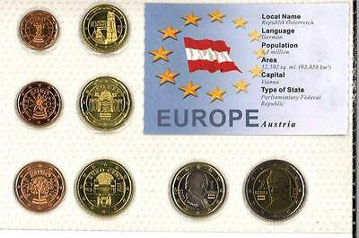 Austria Euro Coin Set - 8 Coins Mint Uncirculated-Sealed In Folder