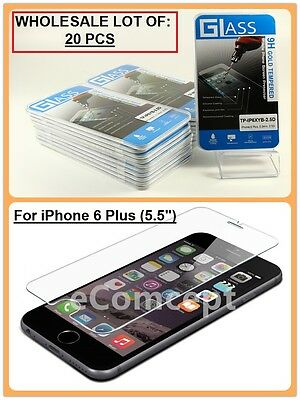 """Wholesale Lot of 20 Tempered Glass Film Screen Protector for 5.5"""" iPhone 6S PLUS"""