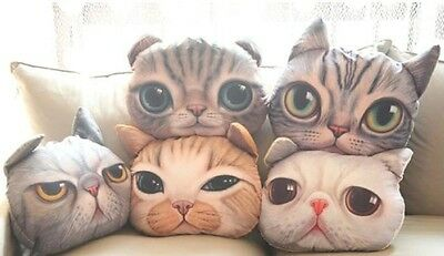 Soft Stuffed Plush 3D Cute Cat Dog Face Throw Pillow Decor Cushion Toy Doll new