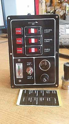 Marine Switch Panel 3 Fused Switches Battery Tester And Plug
