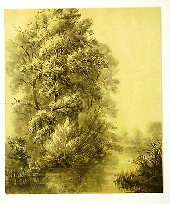 Landscape  Trees By A River Wash Watercolour  Wm Fred Witherington C1810-20