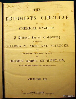 1880 - 1883 The Druggists Circular & Chemical Gazette Bound Book Chemistry