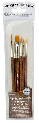 GOLD TAKLON BRUSH SET PACK in BRUSH POUCH - 6 Piece Set by Royal & Langnickel