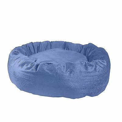 CORDUROY – DONUT BED. Blue Pet Nesting for S, M, L, XL, XXL Dogs. Popular Bed!