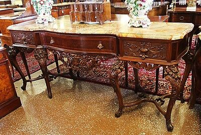 Very Rare & Large Carved Walnut French Marble Top Buffet C1890