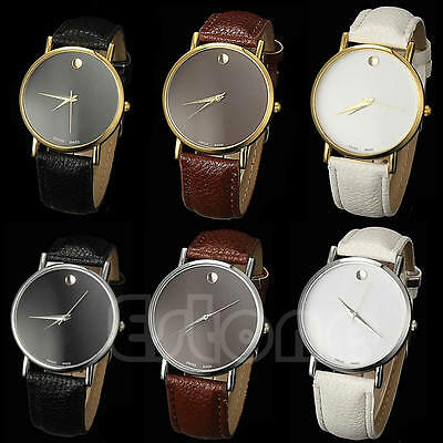 Fashion Women Geneva Stunning Classic Faux Leather Band Men Casual Wrist Watch