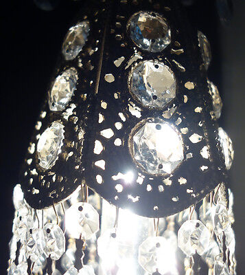 1of2 Jeweled filigree Hollywood lily tulip hanging foyer lamp chandelier Vintage