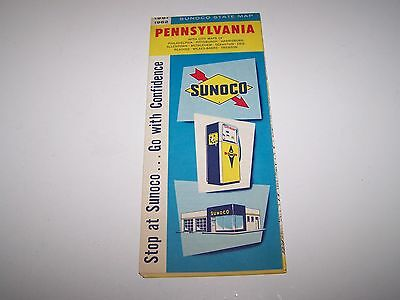 VINTAGE 1961 1962 SUNOCO STATE MAP PENNSYLVANIA