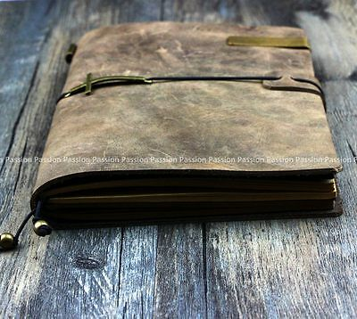 brown Diaries Journals notebook note book genuine leather vintage D20141028