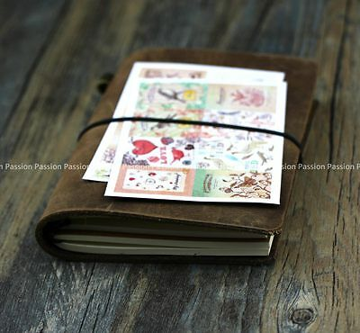 small diary blank Journals notebook genuine leather vintage hand book D0713