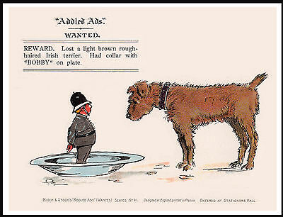 Irish Terrier And Policeman Lovely Comic Dog Print Poster