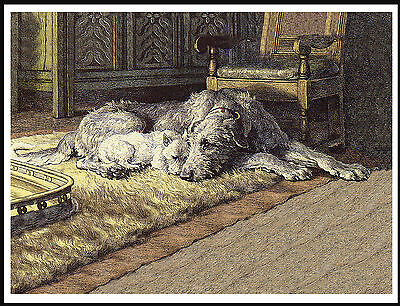 Irish Wolfhound And Westie Terrier By The Fire Vintage Style Dog Print Poster
