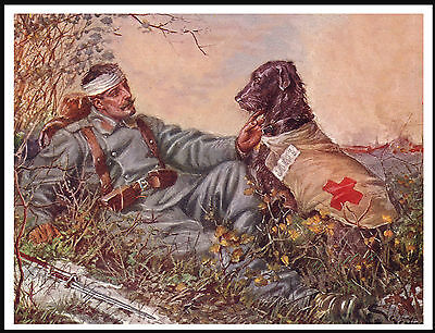 Soldier Rescued By Irish Wolfhound Red Cross War Dog Vintage Style Print Poster