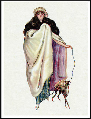 Italian Greyhound And Glamorous Lady Owner Lovely Vintage Style Dog Print Poster