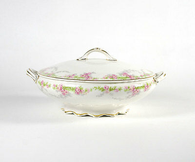 Knowles Rose Garland Round Covered Vegetable Bowl, Antique Pink Roses