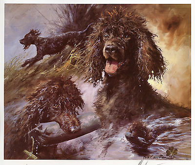 IRISH WATER SPANIEL DOG FINE ART LIMITED EDITION PRINT  by the late Mick Cawston