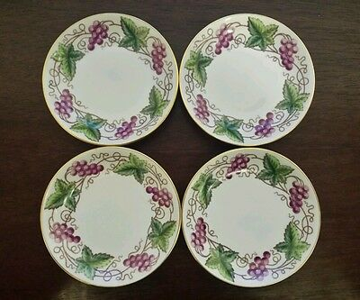 "Spode Copelands China England 3 1/2"" Demitasse Saucers Grape Pattern Set of 4"
