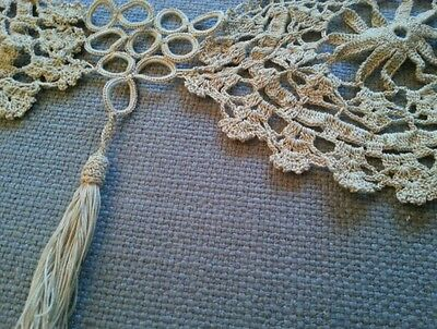 Antique Wide Lace Thick Crochet Tassel Edging Trim for Vintage Projects Sewing