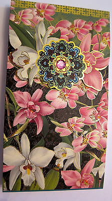 Punch Studio JEWELED PINK BLACK ORCHID NOTE PAD.    JUST GORGEOUS!