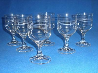 Retro Crystal Stemmed Wine Glasses X 8