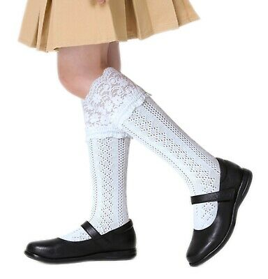 Girls White Black Grey Back to School Knee High Pelerine Pointelle Cotton Socks