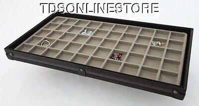 Stackable Black Aluminum 50 Slot Earring/Jewelry Display Tray Gray