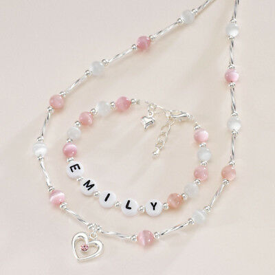 Any Name Children's Jewellery, Personalised Necklace and Bracelet Set for Girls