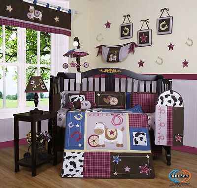 14PCS Horse Western Cowgirl CRIB BEDDING SET - Including Musical Mobile