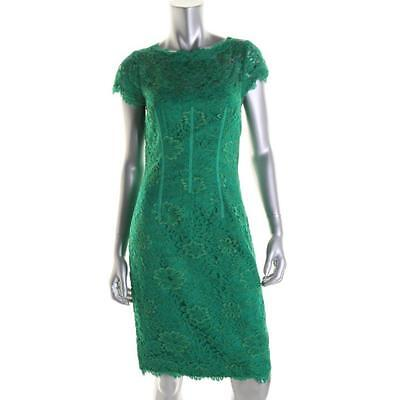MONIQUE L'HUILLIER NEW Green Lace Cap Sleeves Party Cocktail Dress 4 BHFO