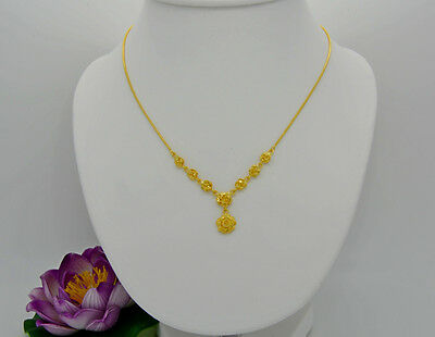 """22K 24K Thai Yellow Gold Plated GP 17"""" Gorgeous Necklace Rose Drop Snake Chain"""