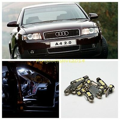 10X LED Car Interior Light Kit Canbus Set White for AUDI A4 B6 8E Limo 2001-2004
