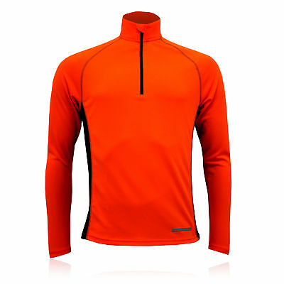 Higher State Mens Orange Black Half Zip Long Sleeve Running Sports Top