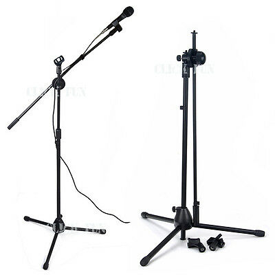 Microphone Stand Telescopic Boom Adjustable Mic Holder Tripod Two Clip 1 to 2 M