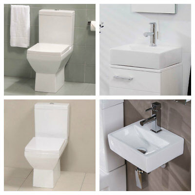 Toilet Sink Cloakroom Bathroom Suite White Square Ceramic Wall Hung Basin 9579