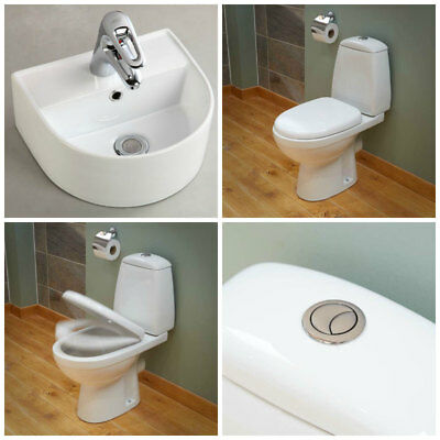 Toilet Basin Two Piece Bathroom Cloakroom Suite Wall Hung Countertop Sink