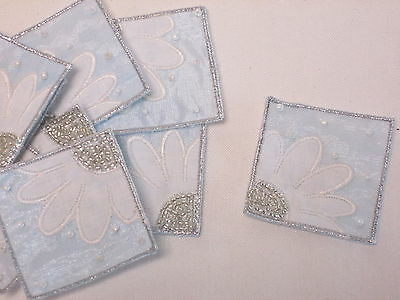 Set of 10 Pink White Embroidered Flower Patch Motif Card Making Crafts #16D119