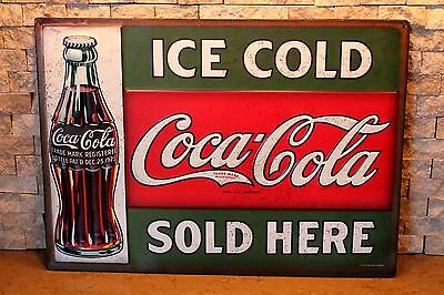 Ice Cold Coca Cola Sold Here Embossed Tin Licensed Limited Production Sign coke