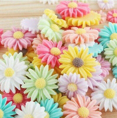 10pcs ~8colors 21mm Daisy Resin Flatback Cabochon ScrapbookIng for phone/craft!