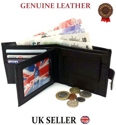 Mens Soft Genuine Real Leather Bifold Black Wallet Credit Card Holder Coin Purse