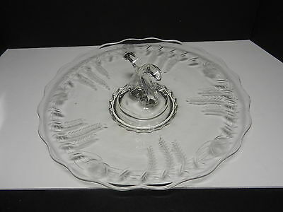 "New Martinsville Viking Princess #5200 Center Handle Tray Clear Floral Cut 12"" D"