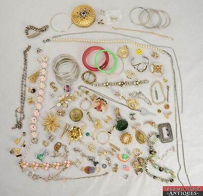 Lot of  Vintage & Antique Jewelry for Repair or Projects Nice Beads, Rhinestones