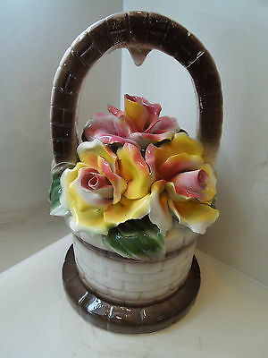 Large Vintage Capodimonte Porcelain Floral Basket Centerpiece Made In Italy