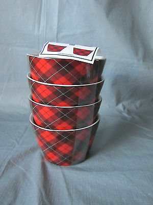 222 FIFTH 4 Red Appetizer Snack Bowls Christmas Plaid Reds & Green