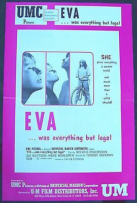 EVA...was everything but legal RATED X Adult Sweden 1971 US MOVIE PRESSBOOK